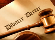 Divorce Decree document and gavel